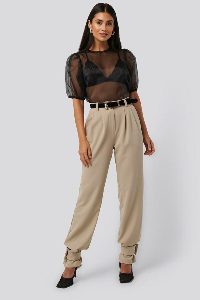 Beige Closure Suit Pants