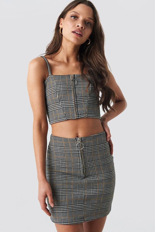 Black/White/Yellow Co-ord Check Mini Skirt