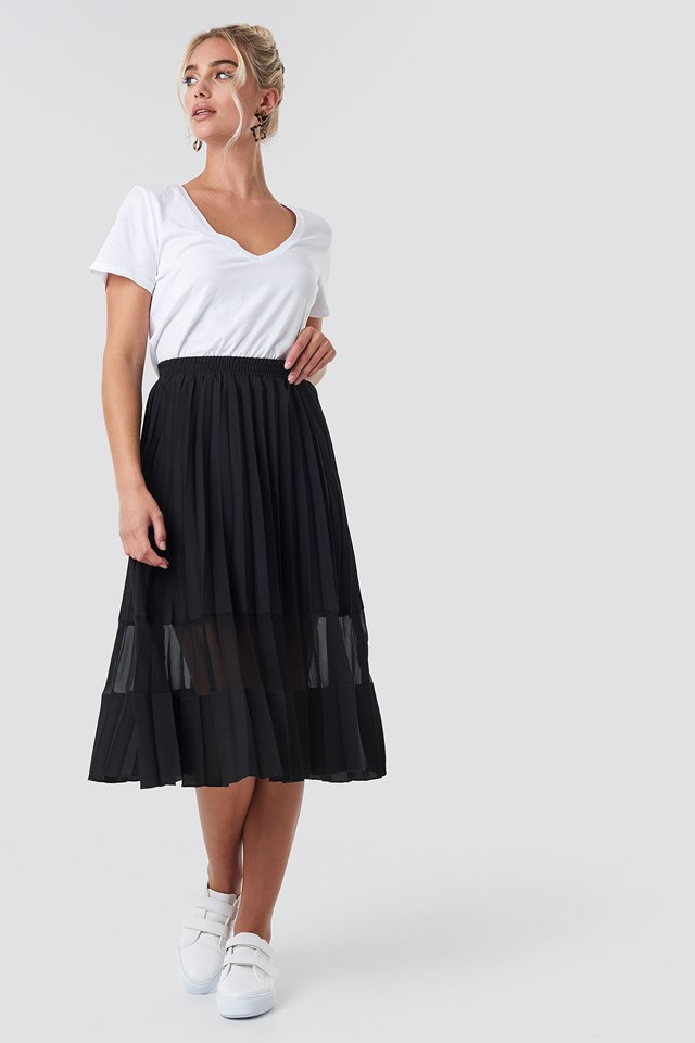 Spódnica Jeansowa Plisowana Black