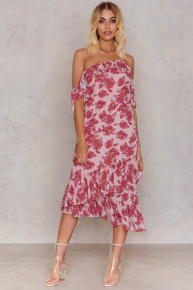 Pink Rose Print Cold Shoulder Thin Strap Frill Dress