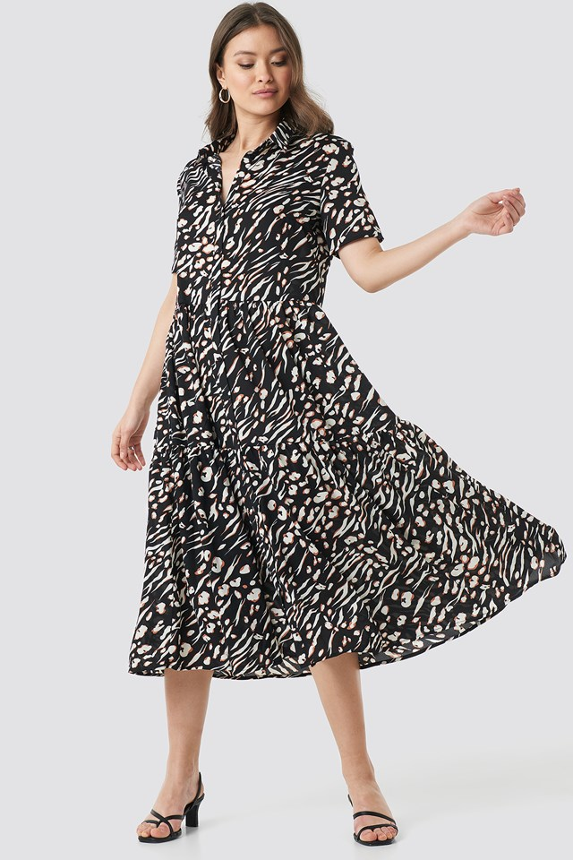 Black Combo Collar Printed Midi Dress