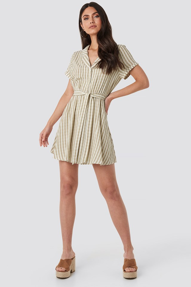 Collar Stripe Shirt Dress Beige/White Stripe