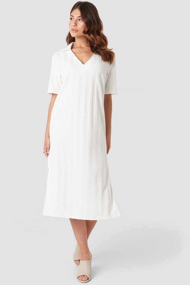 Collar V Front Knitted Dress Offwhite