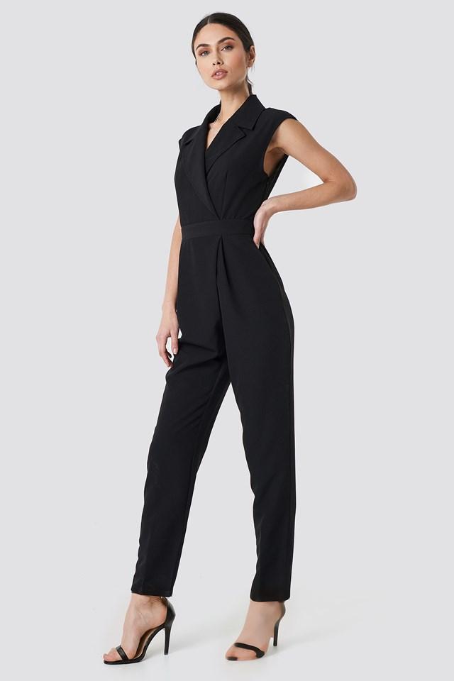 Collared Waistband Jumpsuit Black