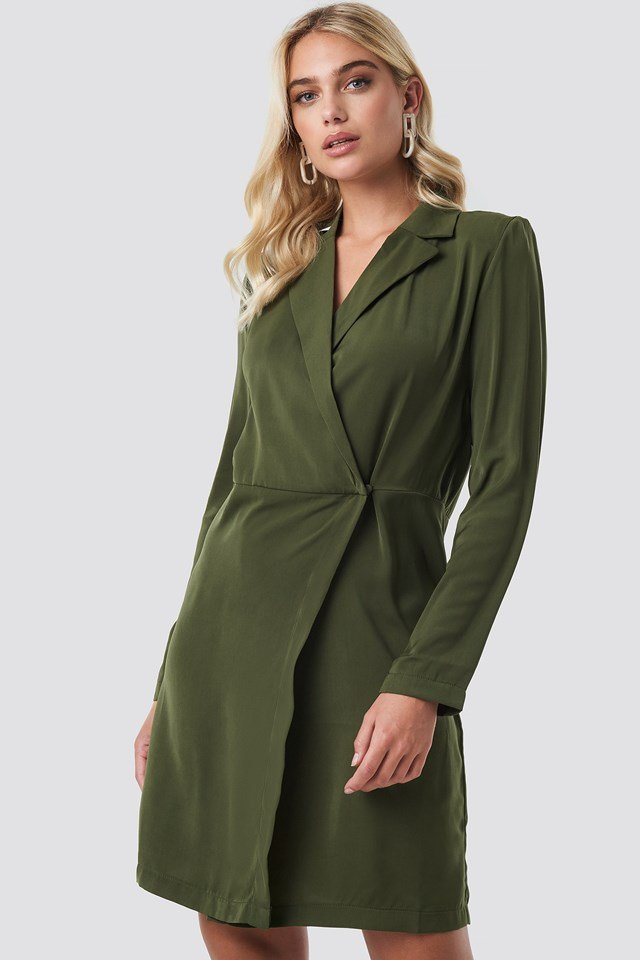 Collared Wrap Over Midi Dress Khaki Green
