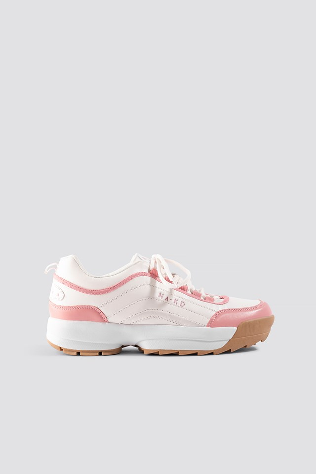 Color Block Sneakers Pastel Pink