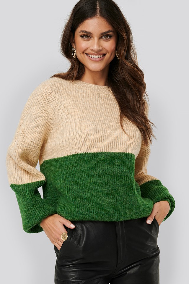 Color Blocked Knitted Sweater Green/White