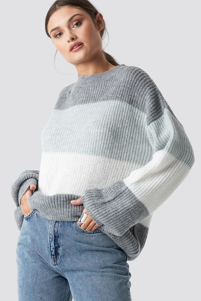 Color Striped Balloon Sleeve Knitted Sweater Grey