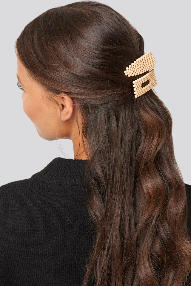Colored Beads Hairclips Light Yellow