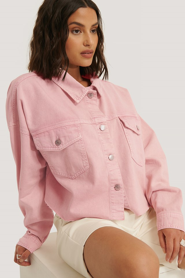Colored Denim Crop Shirt Pink