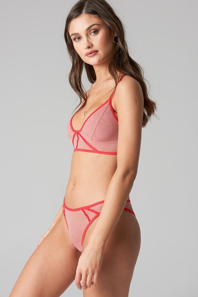 Contrast Binding Mesh Panty Pink Umber