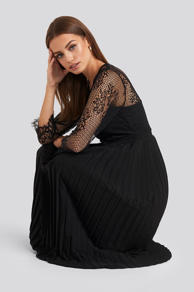 Black Contrast Lace Midi Dress