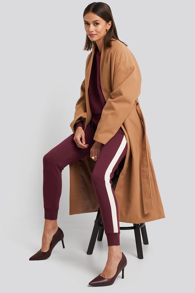 Burgundy Contrast Panel Slim Leg Joggers