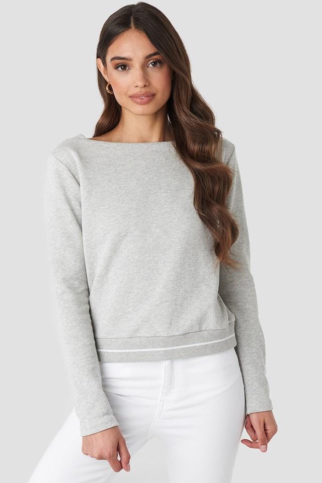 Contrast Rib Sweatshirt Grey Marl