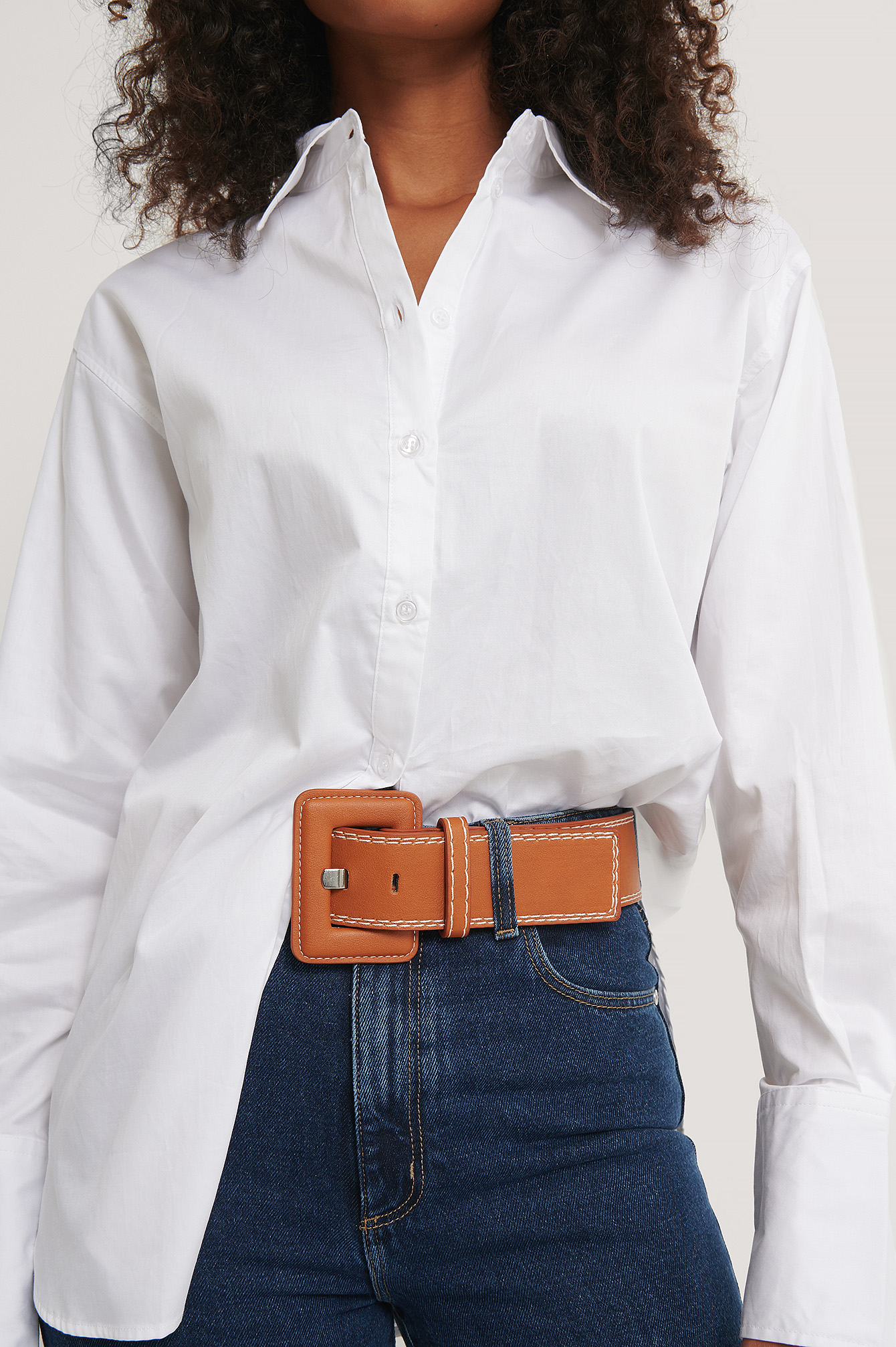 Brown Contrast Seams Waist Belt
