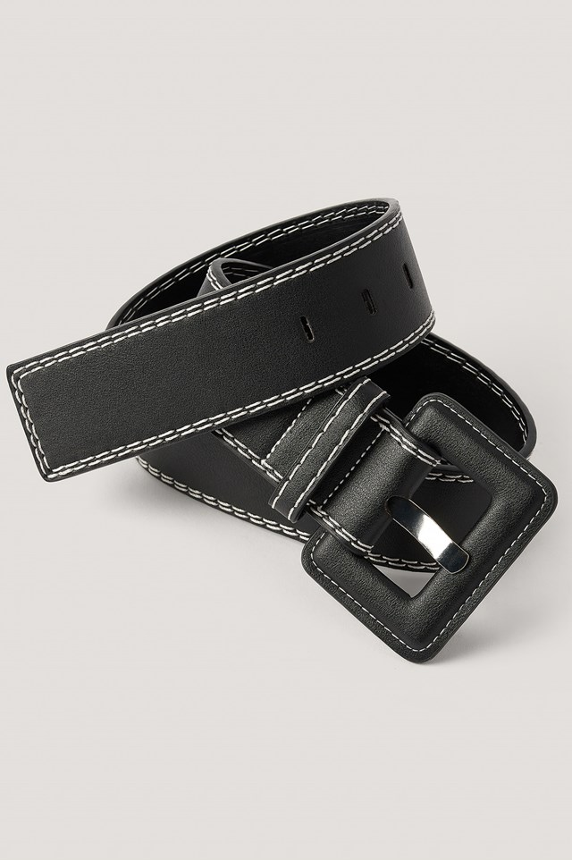 Contrast Seams Waist Belt Black