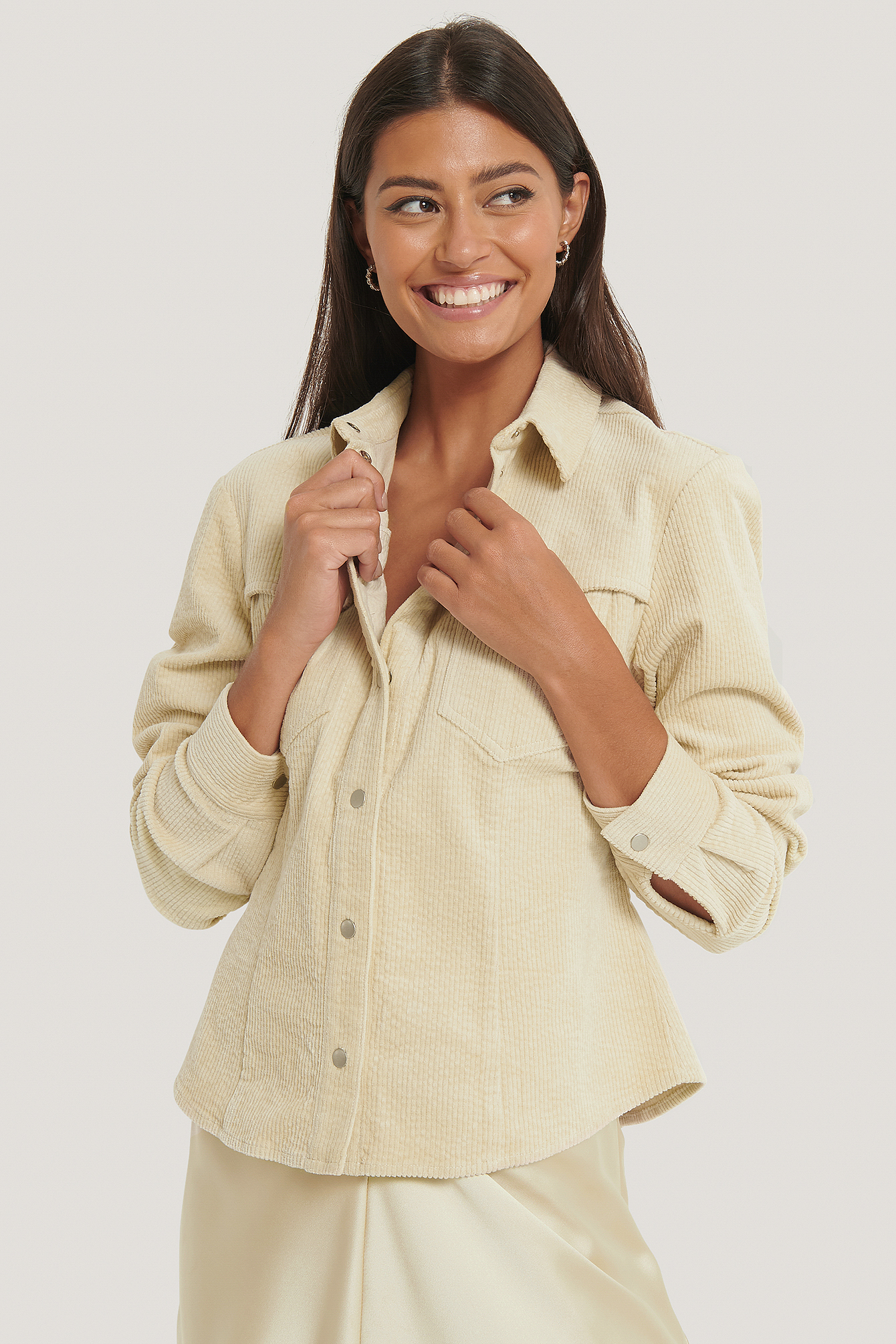 Beige Corduroy Double Pocket Overshirt