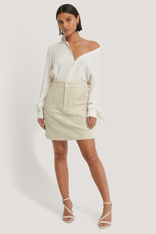 Beige Corduroy Mini Skirt