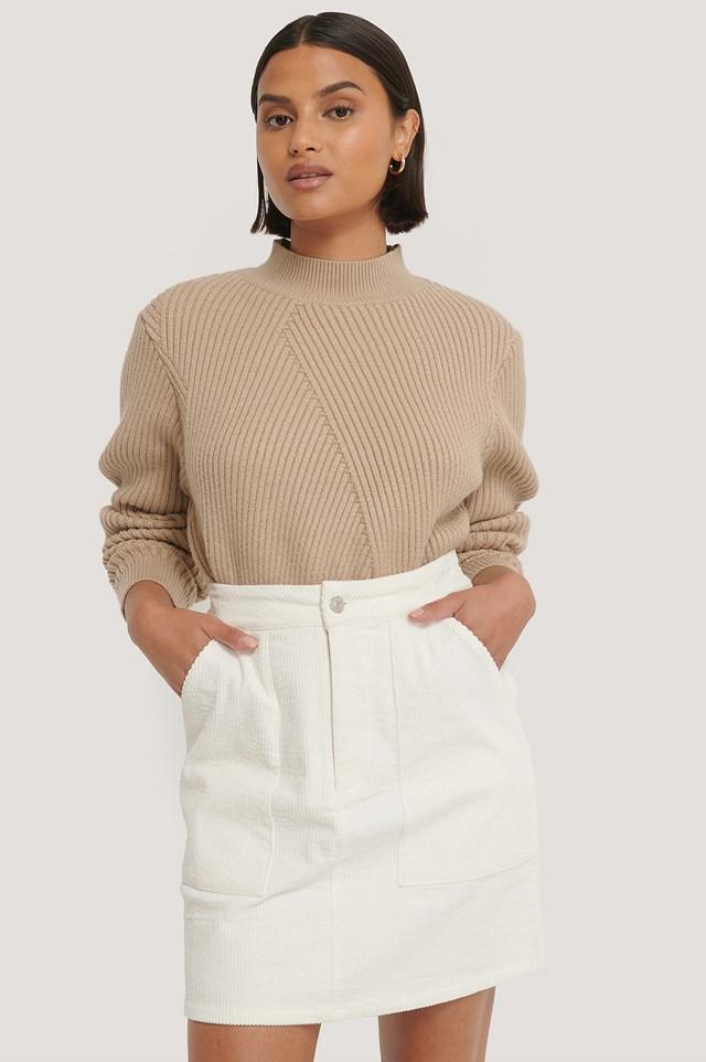 Corduroy Mini Skirt Offwhite