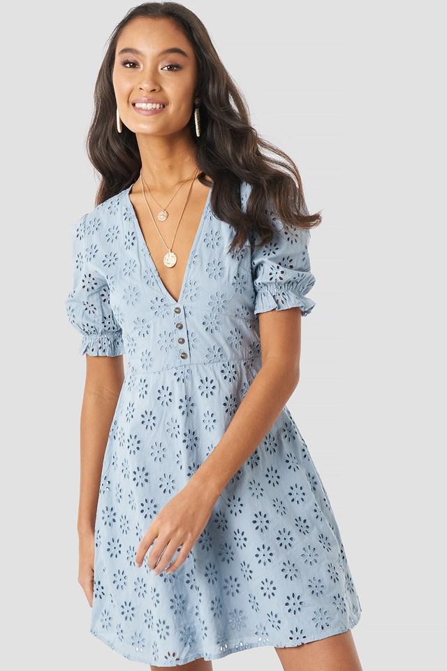 Cotton Anglaise Mini Dress Dusty Blue