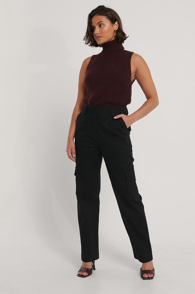 Black Cotton Cargo Pocket Pants
