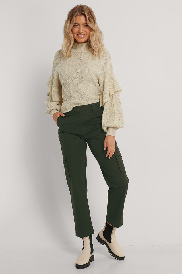 Cotton Cargo Pocket Pants Khaki