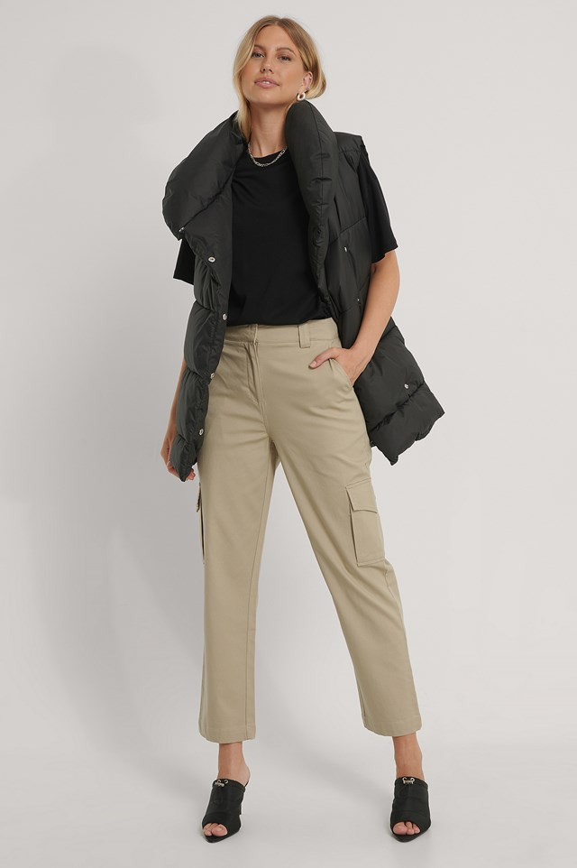 Dark Beige Cotton Cargo Pocket Pants