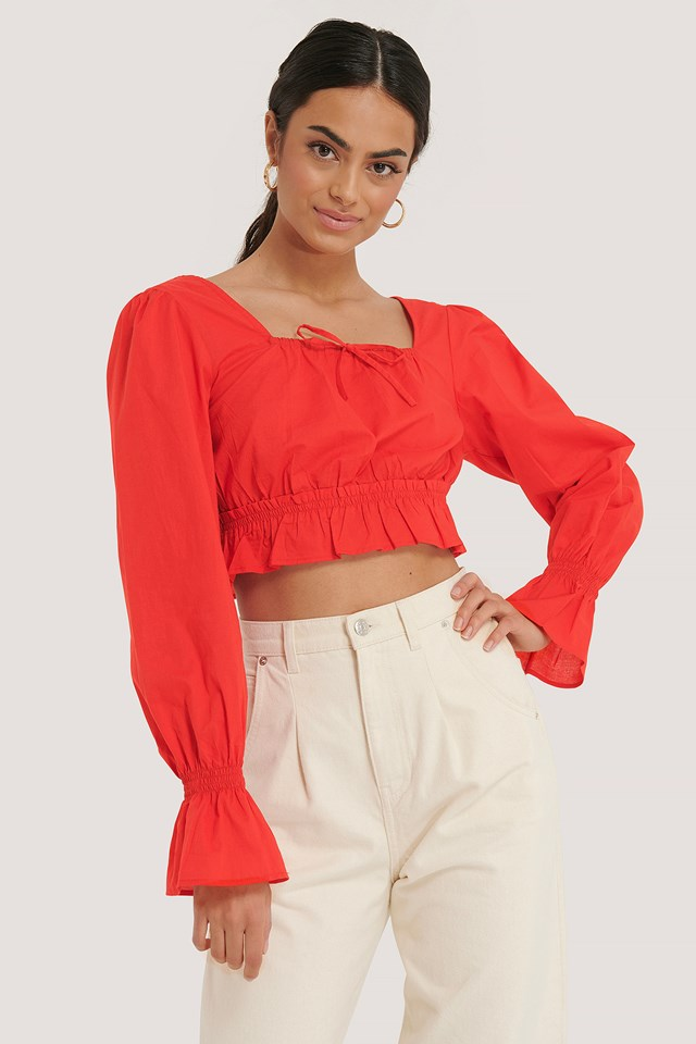 Red Cotton Square Neck Bow Blouse