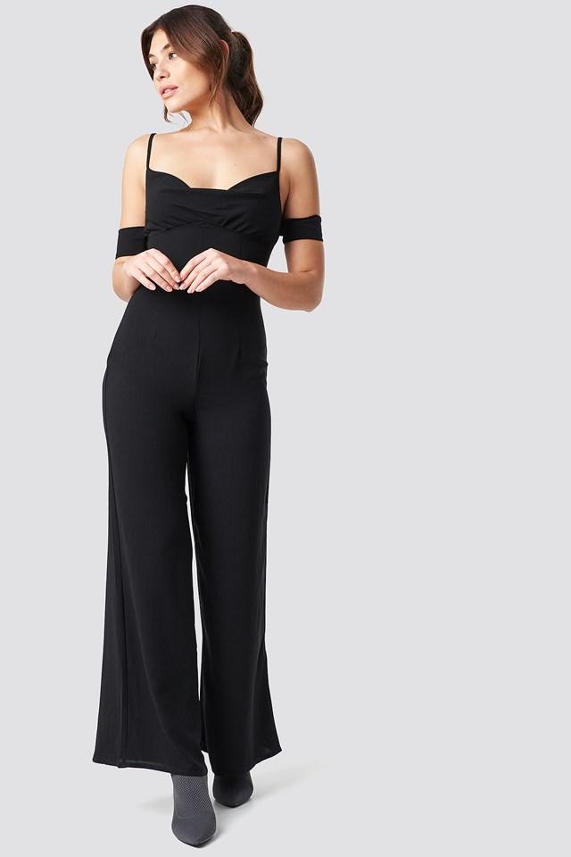 Cowl Neck Jumpsuit Black