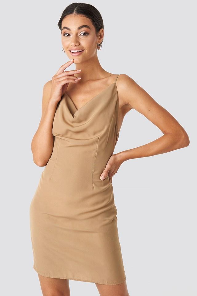Cowl Neck Mini Dress Dark Beige