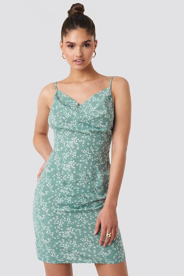 Cowl Neck Mini Dress Green Print