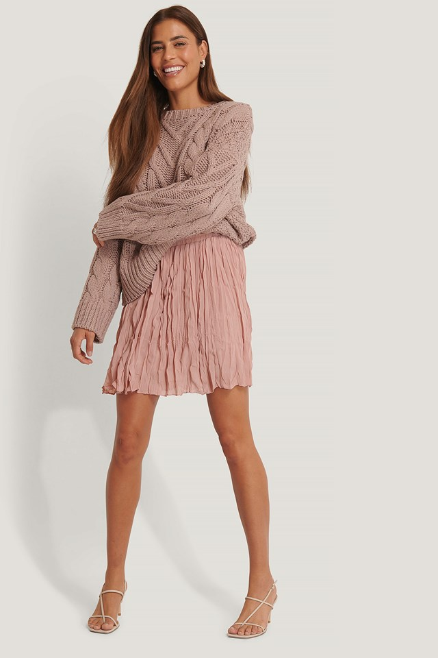 Creased Mini Skirt Dusty Pink