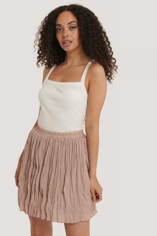Creased Mini Skirt Latte