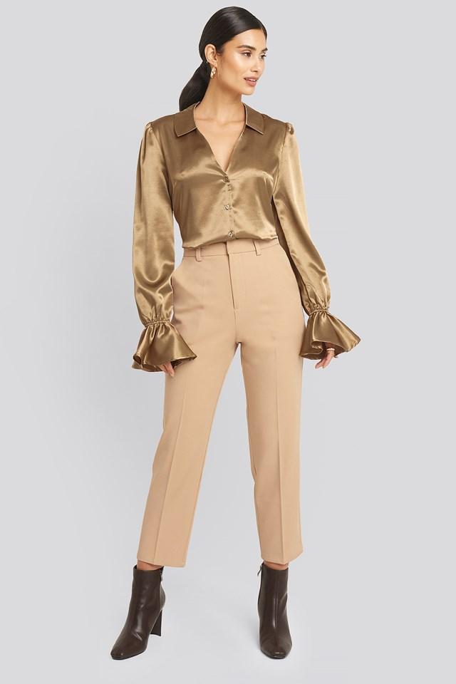 Light Beige Creased Suit Pants