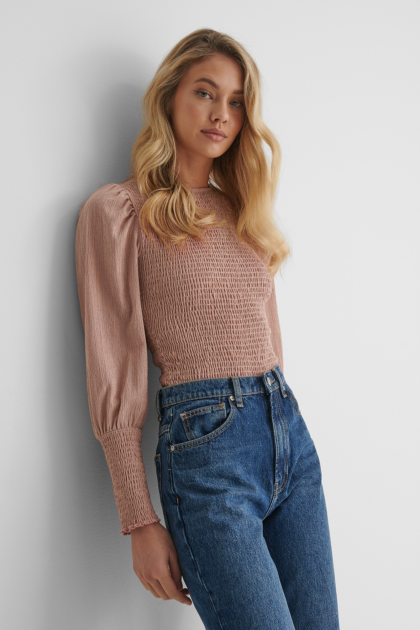 Dusty Dark Pink Crepe Smock Puff Sleeve Top