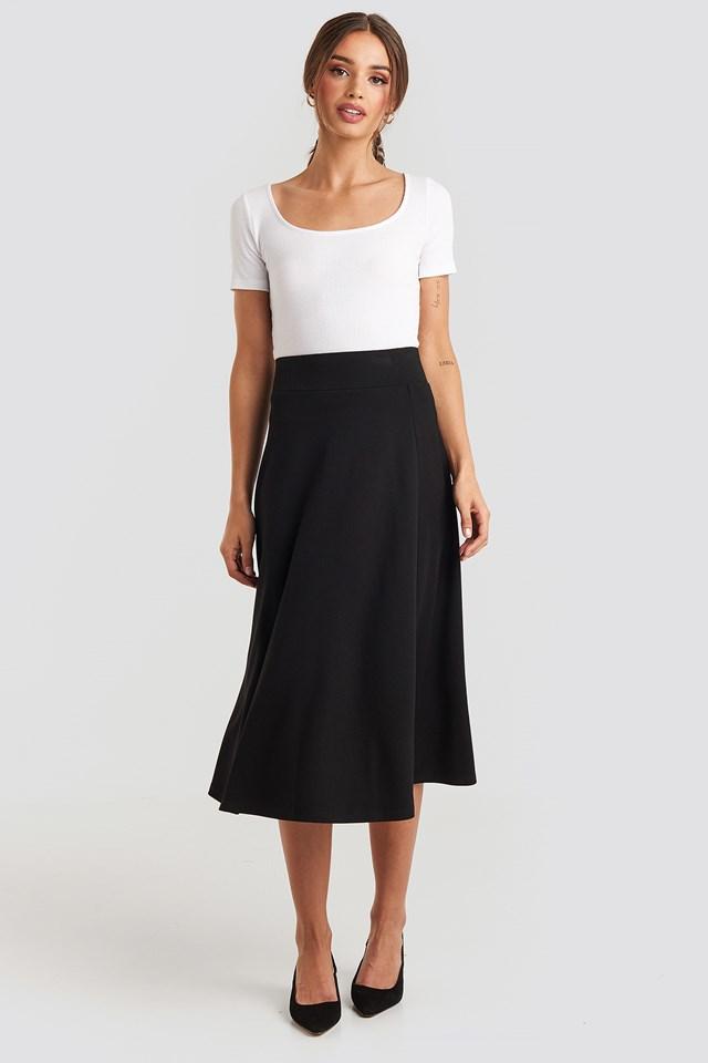 Crepes Line Midi Skirt Black
