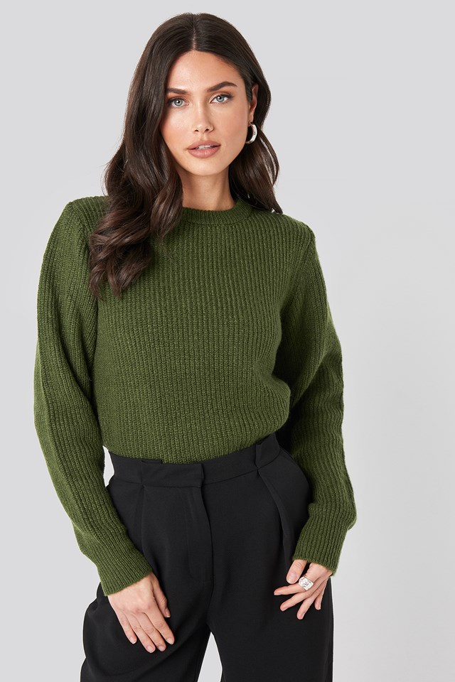 Crew Neck Knitted Sweater Dark Green