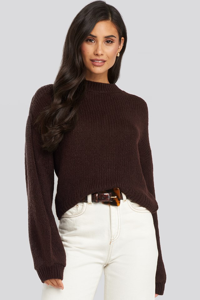 Plum Crew Neck Volume Sleeve Knitted Sweater