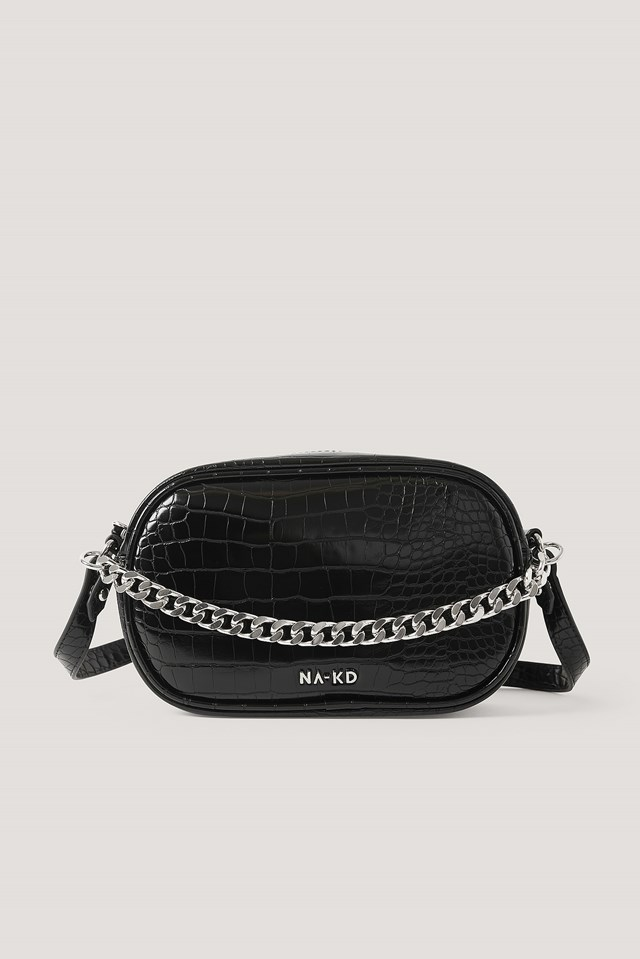 Croc Oval Crossbody Bag Black