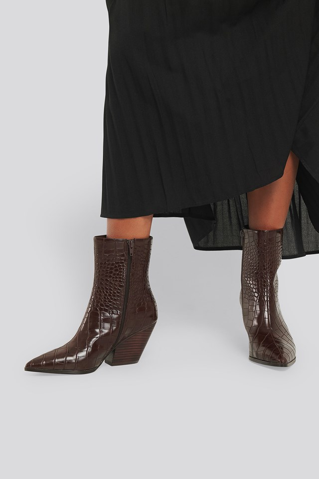 Dark Brown Croc Western Heel Pointy Boots