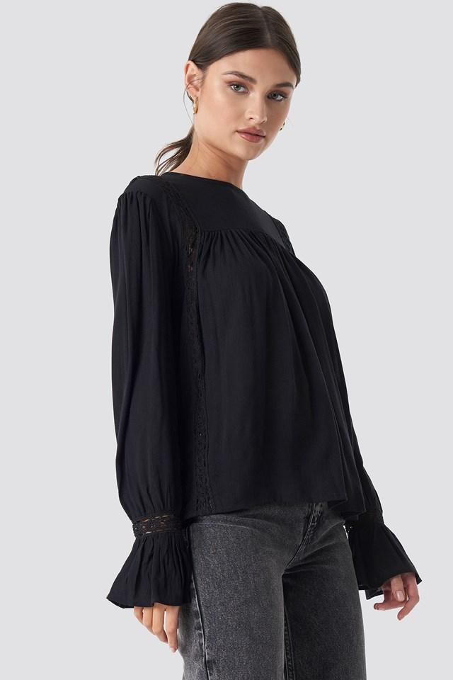 Black Crochet Detail Flowy Cotton Top