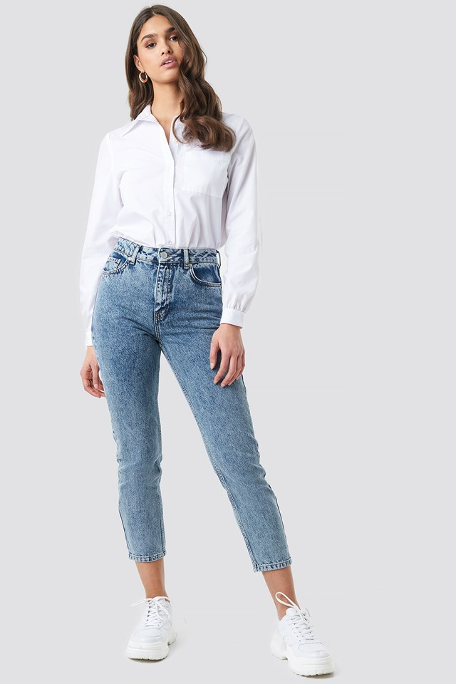 Cropped 5 Pocket Jeans Blue Stone Wash