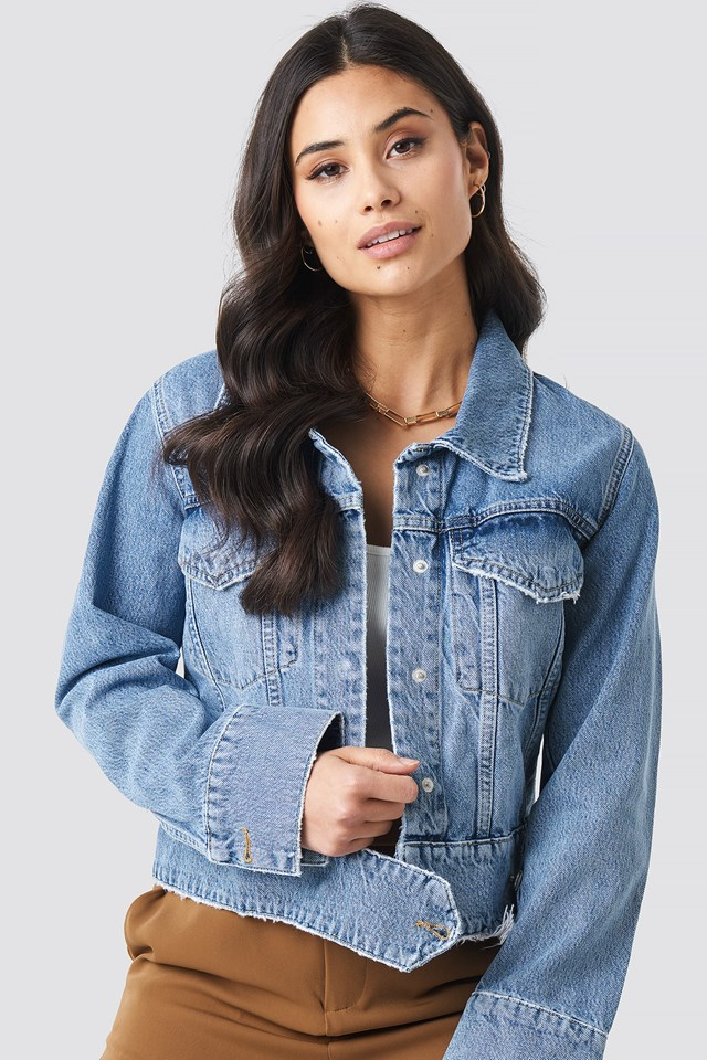 Cropped Big Pocket Denim Jacket Mid Blue