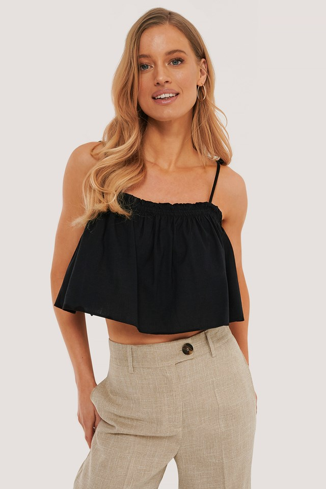 Black Cropped Frill Detail Top