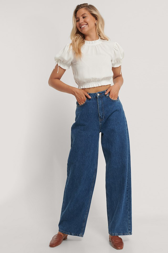 Cropped Frill Neck Top White