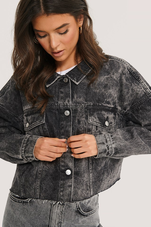 Cropped Oversized Denim Jacket Black