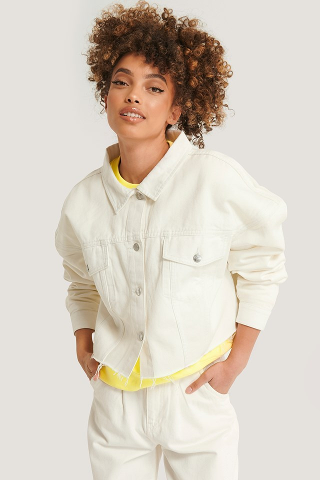 Cropped Oversized Denim Jacket Offwhite