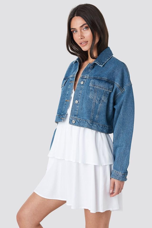 Cropped Regular Hem Denim jacket Mid Blue