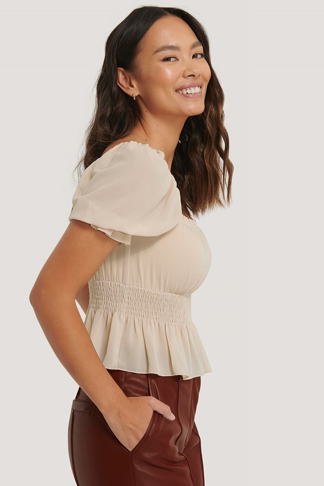Cropped Smock Top Beige