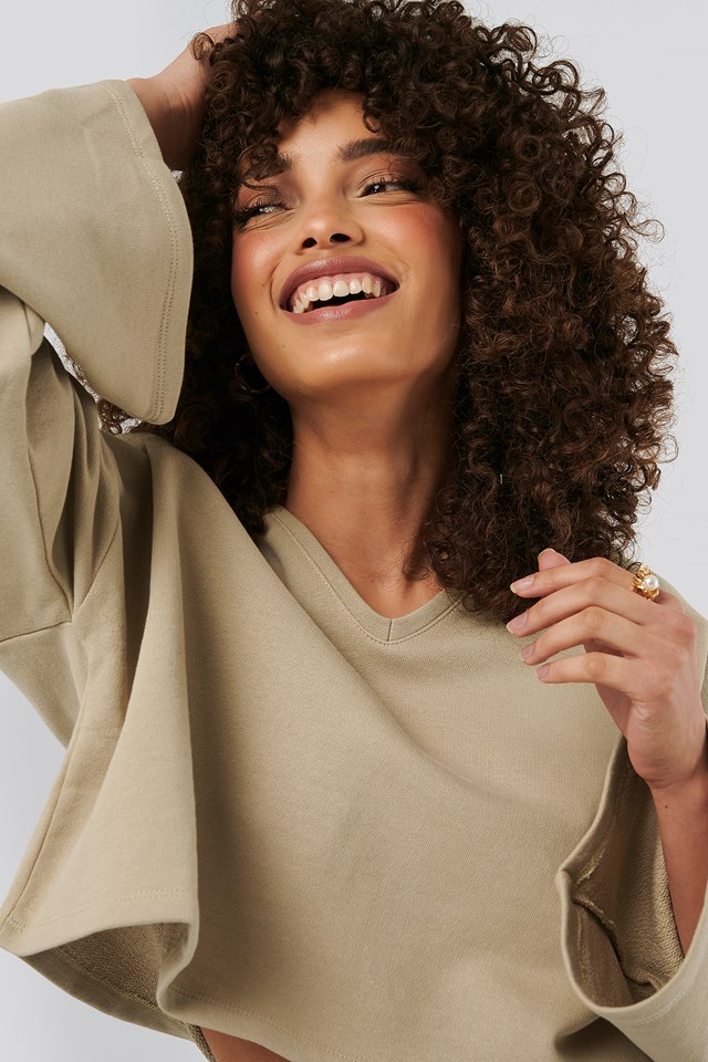 Cropped V Neck Oversized Sweater Beige